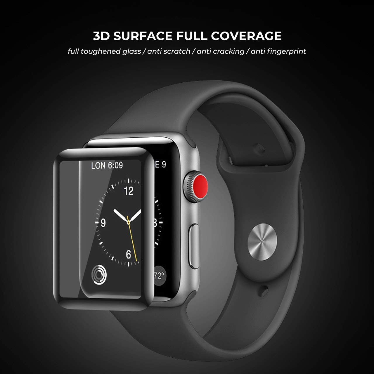 apple watch 38mm/42mm full cover screen protector