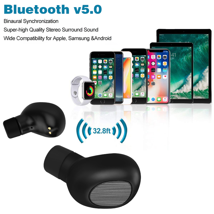 Bluetooth 5.0 wireless earphones with charging case and microphone