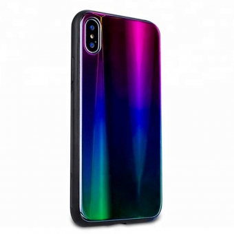 Iphone X aurora tpu glass cell phone case cover