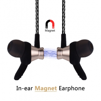 Computer mobile bass earphone magnetic metal in ear earpieces