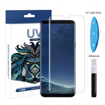 Samsung galaxy s8 uv light liquid full glue tempered glass screen protector