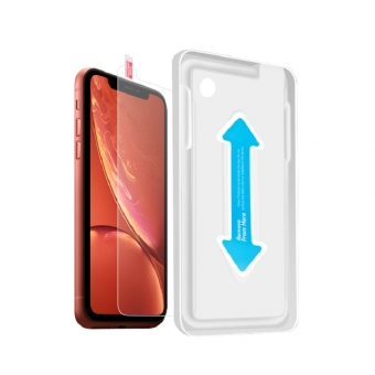 Iphone xr hd clarity tempered glass screen protector film with installation tray