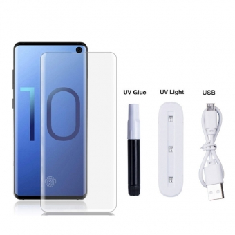 Samsung galaxy s10 uv light liquid glue tempered glass screen protector